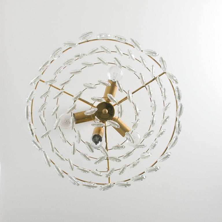 Palwa Chandelier, Gilded Brass and Faceted Crystal, 1960s For Sale 3