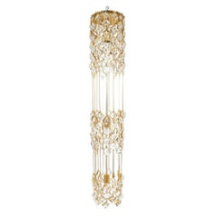 Palwa Chandelier Golden Brass and Crystal Column Lamp, 1960