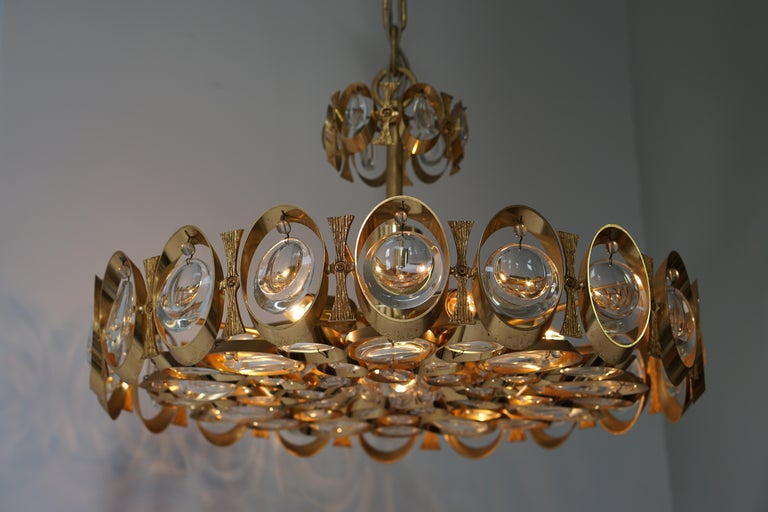 Palwa Chandelier or Pendant Light, Gilt Brass and Crystal Glass, 1970 For Sale 5