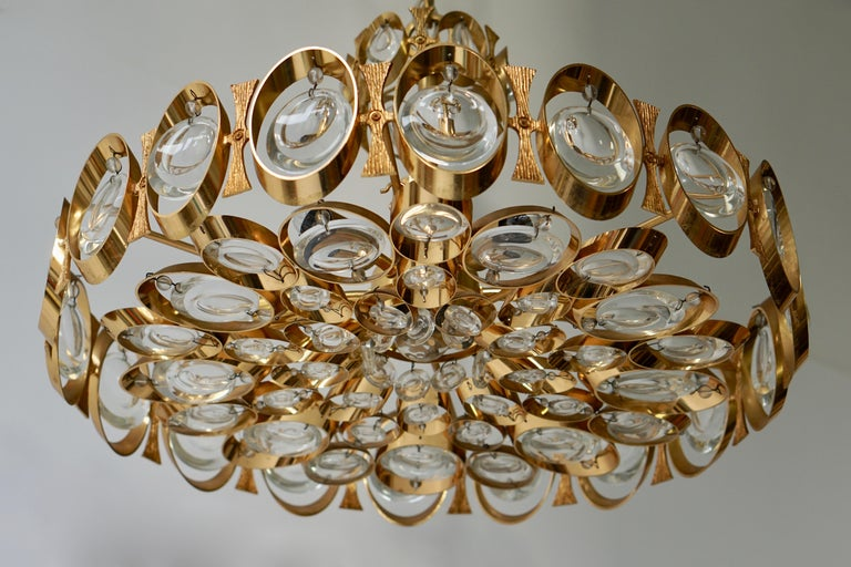 Palwa Chandelier or Pendant Light, Gilt Brass and Crystal Glass, 1970 For Sale 6
