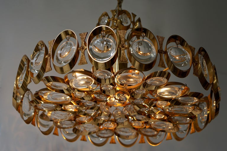 Palwa Chandelier or Pendant Light, Gilt Brass and Crystal Glass, 1970 For Sale 7