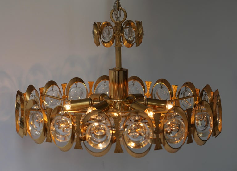 Palwa Chandelier or Pendant Light, Gilt Brass and Crystal Glass, 1970 For Sale 8