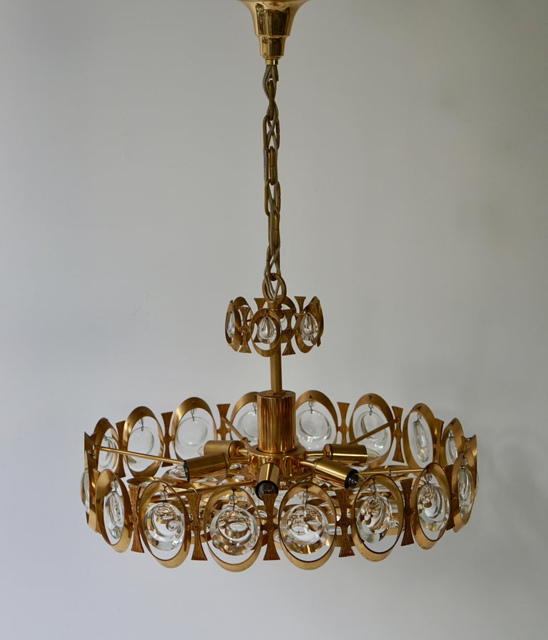 Palwa Chandelier or Pendant Light, Gilt Brass and Crystal Glass, 1970 For Sale 9