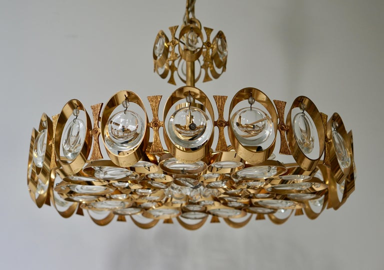 Palwa Chandelier or Pendant Light, Gilt Brass and Crystal Glass, 1970 For Sale 10