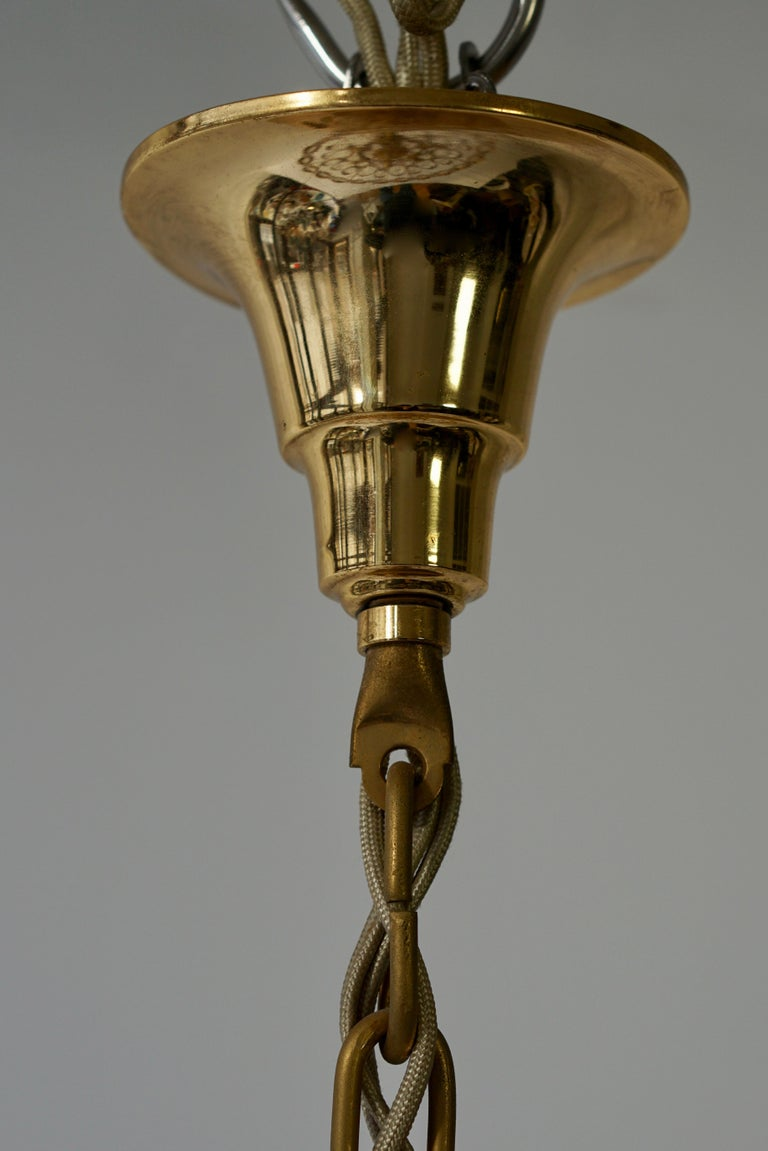 Palwa Chandelier or Pendant Light, Gilt Brass and Crystal Glass, 1970 For Sale 11
