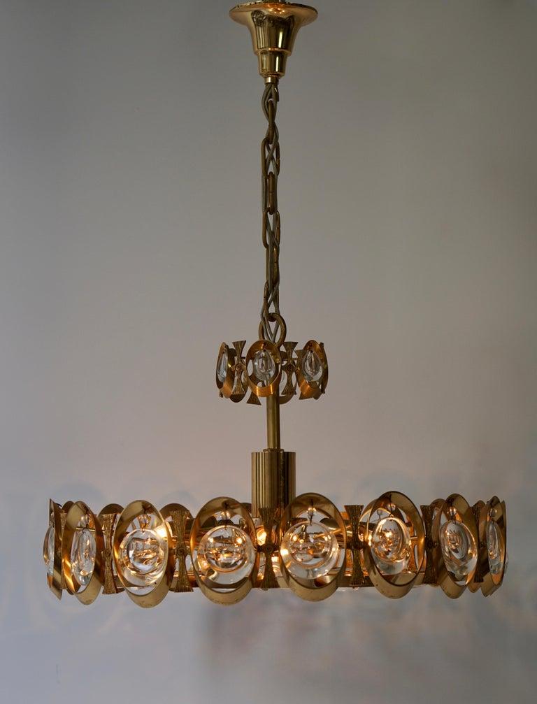 Hollywood Regency Palwa Chandelier or Pendant Light, Gilt Brass and Crystal Glass, 1970 For Sale