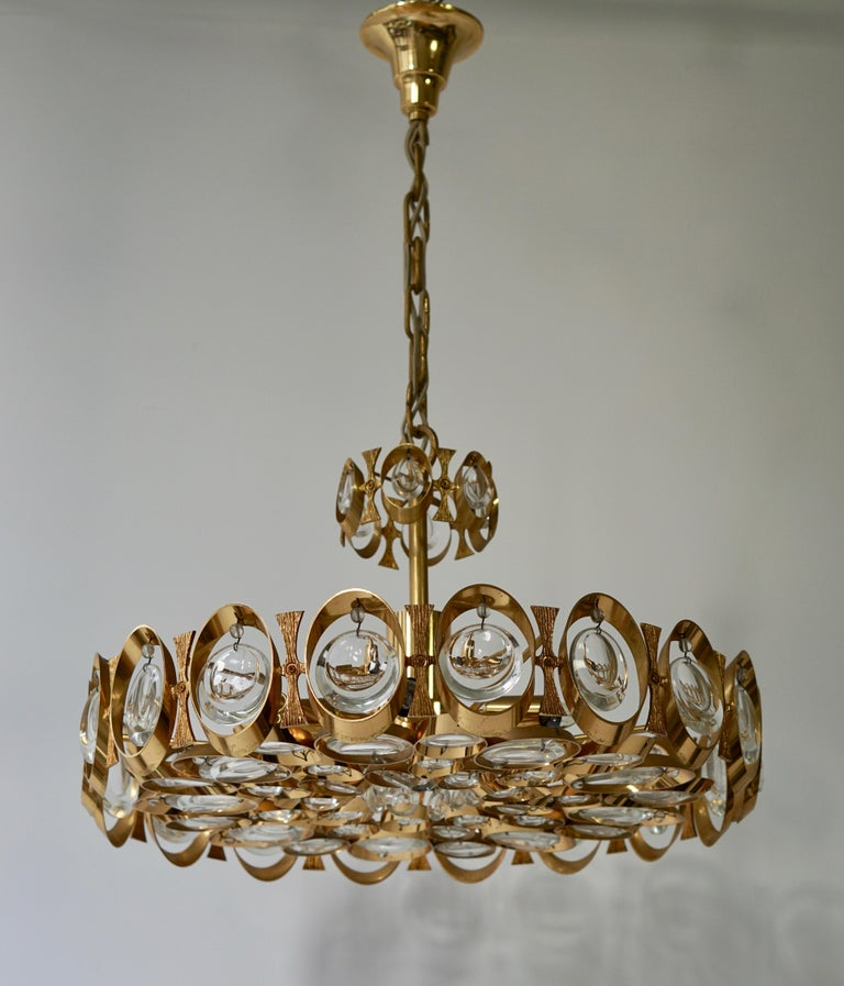20th Century Palwa Chandelier or Pendant Light, Gilt Brass and Crystal Glass, 1970 For Sale