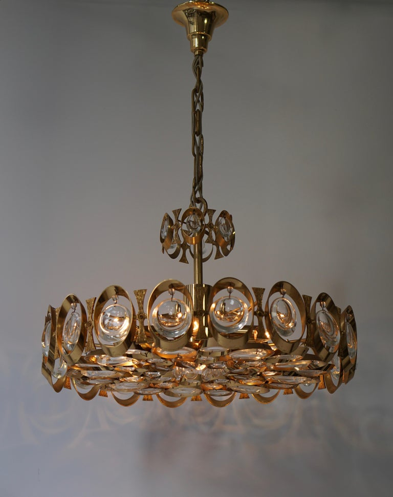 Palwa Chandelier or Pendant Light, Gilt Brass and Crystal Glass, 1970 For Sale 1