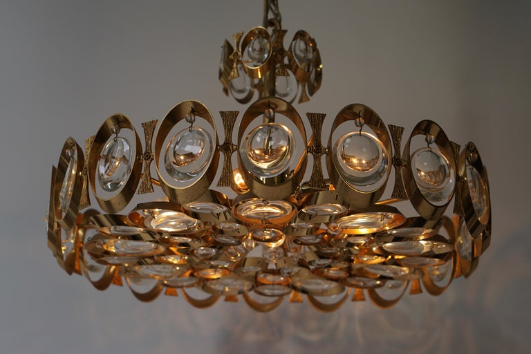 Palwa Chandelier or Pendant Light, Gilt Brass and Crystal Glass, 1970 For Sale 2