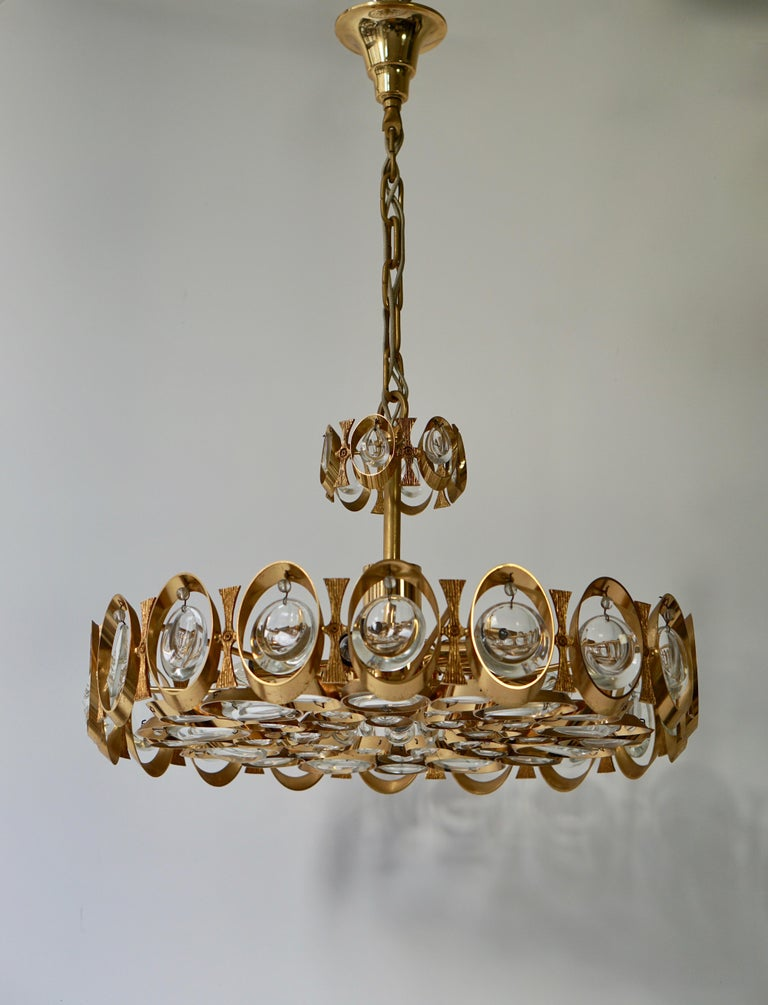 Palwa Chandelier or Pendant Light, Gilt Brass and Crystal Glass, 1970 For Sale 3