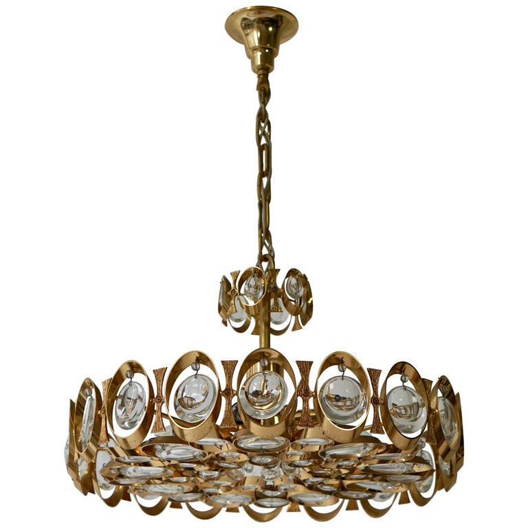 Palwa Chandelier or Pendant Light, Gilt Brass and Crystal Glass, 1970 For Sale