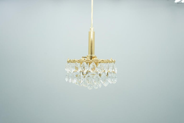 Hollywood Regency Palwa Crystal Glass and Brass Chandelier, 1960s For Sale
