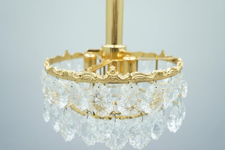 German Palwa Crystal Glass and Brass Chandelier, 1960s For Sale