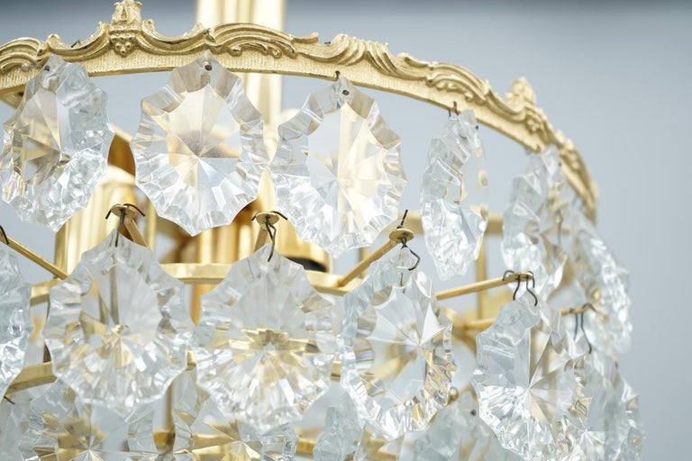Palwa Crystal Glass and Brass Chandelier, 1960s For Sale 2