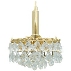 Palwa Crystal Glass and Brass Chandelier, 1960s
