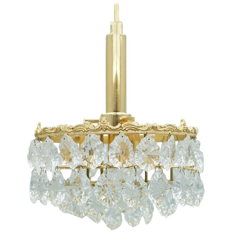 Palwa Crystal Glass and Brass Chandelier, 1960s For Sale
