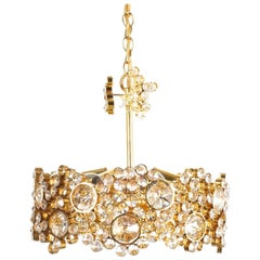 Palwa Crystal Glass Gold-Plated Brass Chandelier Refurbished Lamp