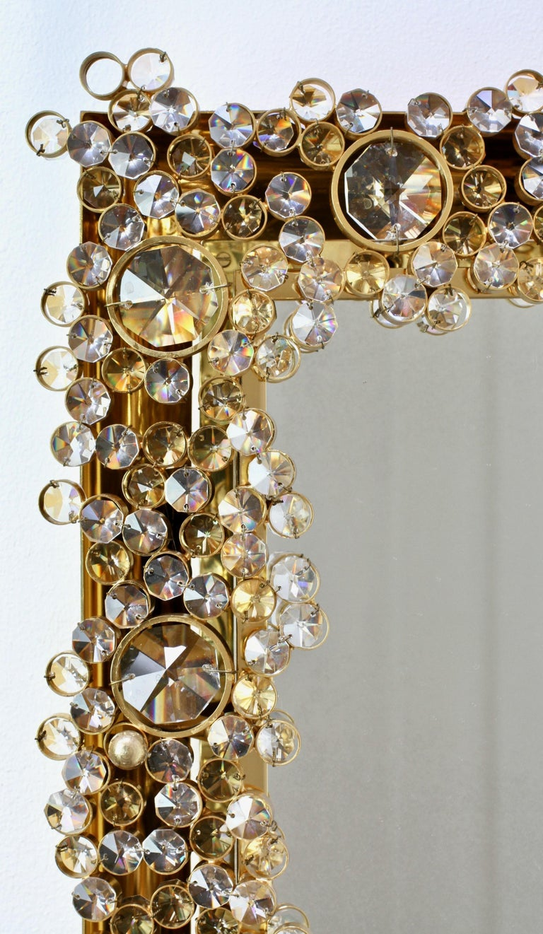 Palwa Extra Large Backlit Wall Mirror with Gilt Brass & Cut Faceted Crystals For Sale 6