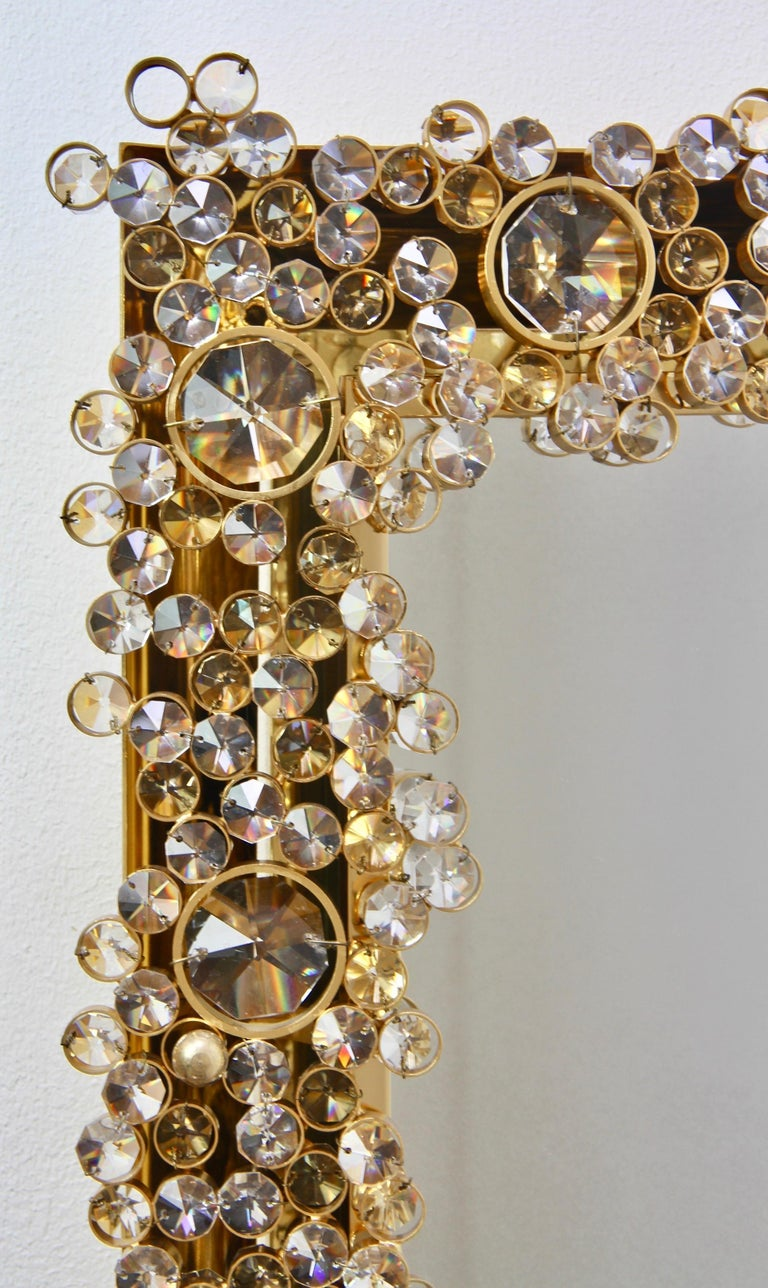 Palwa Extra Large Backlit Wall Mirror with Gilt Brass & Cut Faceted Crystals For Sale 8