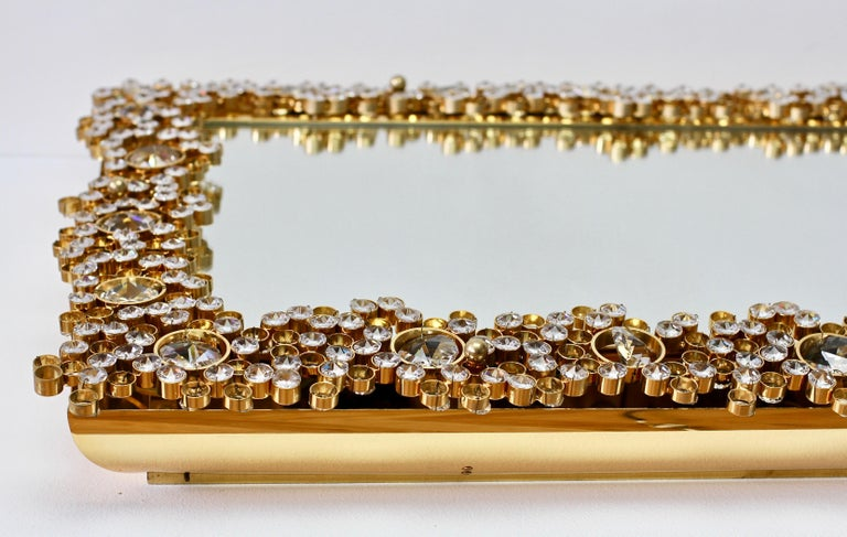 Palwa Extra Large Backlit Wall Mirror with Gilt Brass & Cut Faceted Crystals For Sale 9