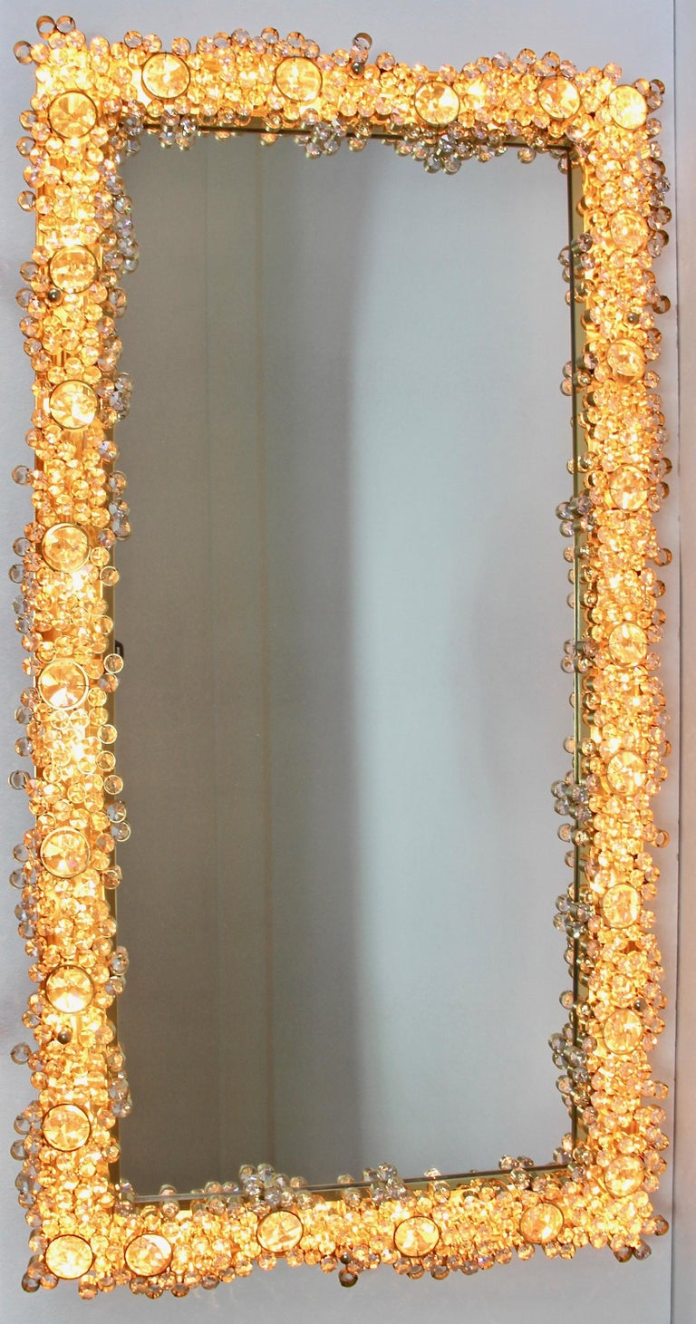 Mid-Century Modern Palwa Extra Large Backlit Wall Mirror with Gilt Brass & Cut Faceted Crystals For Sale