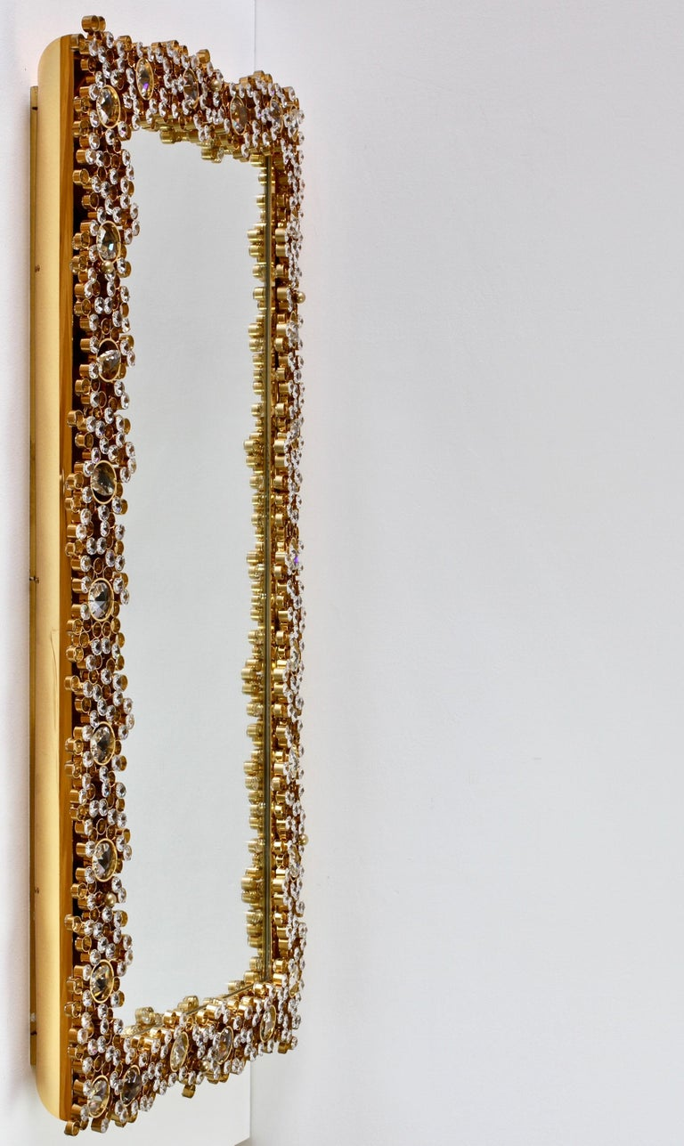 20th Century Palwa Extra Large Backlit Wall Mirror with Gilt Brass & Cut Faceted Crystals For Sale