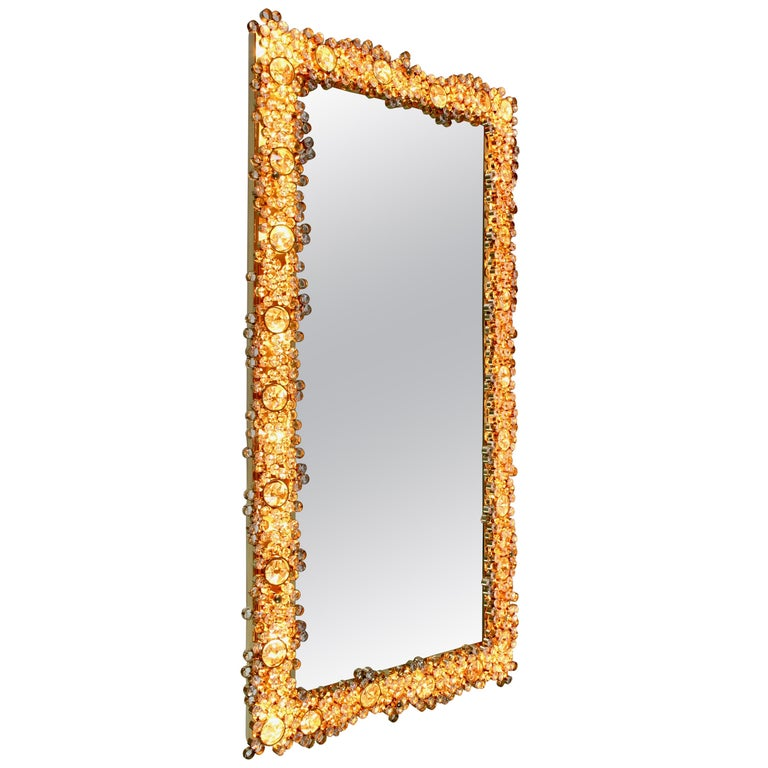 Palwa Extra Large Backlit Wall Mirror with Gilt Brass & Cut Faceted Crystals For Sale