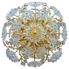 Palwa Flush Mount Chandelier Gilt Flower Bouquet Chrome Leaf Crystal Glass 1960s