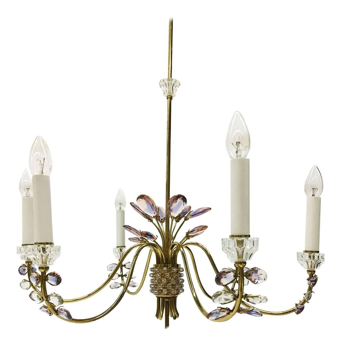 Palwa, Germany Chandelier, Brass and Faceted Crystals, 1970s