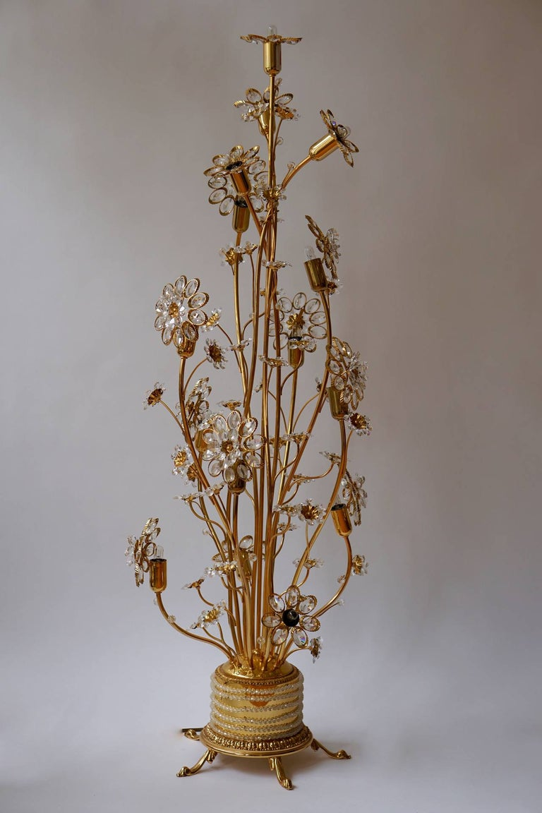 Very glamorous and large flower floor lamp with hundreds of crystals in different sizes. 