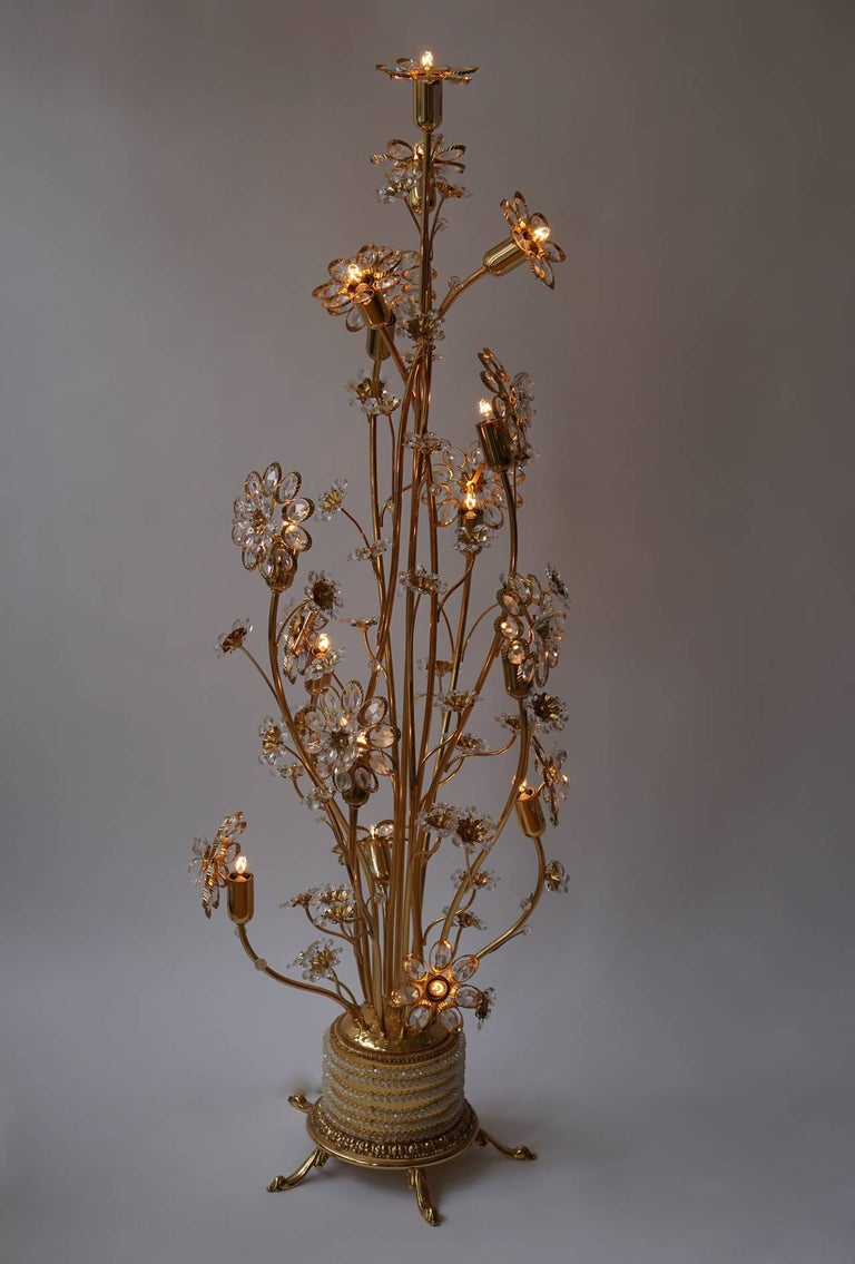 Hollywood Regency Palwa Gilded Brass and Glass Flower Floor Lamp  For Sale