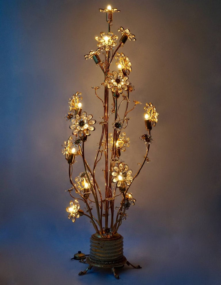 Palwa Gilded Brass and Glass Flower Floor Lamp  For Sale 1