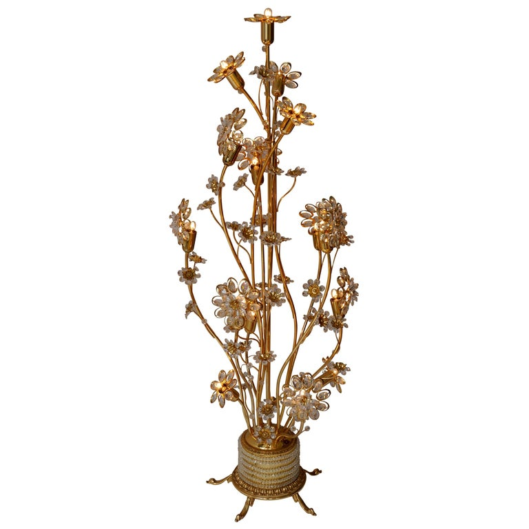 Palwa Gilded Brass and Glass Flower Floor Lamp  For Sale