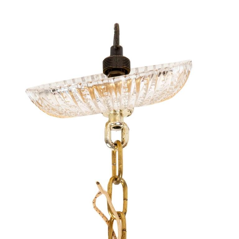 Palwa Gilt Metal And Glass Pendant Light, 1970, Germany For Sale 2