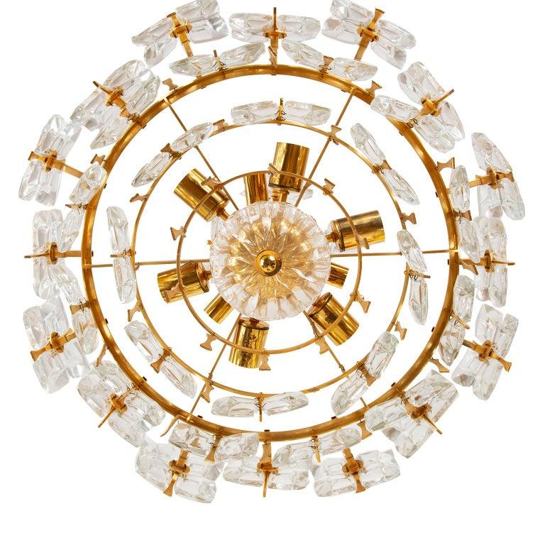Palwa Gilt Metal And Glass Pendant Light, 1970, Germany For Sale 3