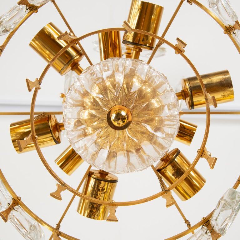 Palwa Gilt Metal And Glass Pendant Light, 1970, Germany For Sale 4