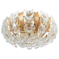 Palwa Gold Brass and Glass Flush Mount, circa 1960