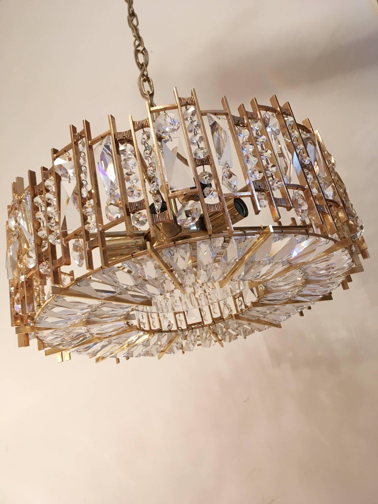 Mid-Century Modern Palwa Gold-Plated Crystal Glass Chandelier, 1960 For Sale