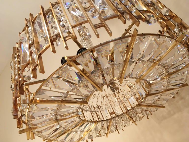 German Palwa Gold-Plated Crystal Glass Chandelier, 1960 For Sale