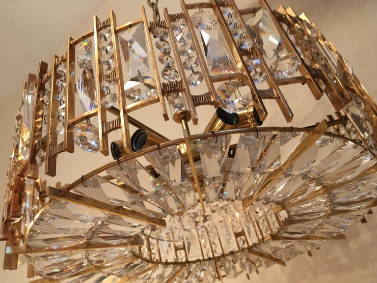Palwa Gold-Plated Crystal Glass Chandelier, 1960 In Good Condition For Sale In Hastings, GB