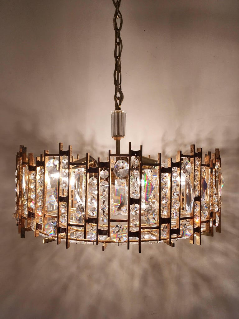 20th Century Palwa Gold-Plated Crystal Glass Chandelier, 1960 For Sale