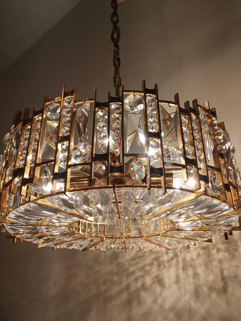 Gold Plate Palwa Gold-Plated Crystal Glass Chandelier, 1960 For Sale