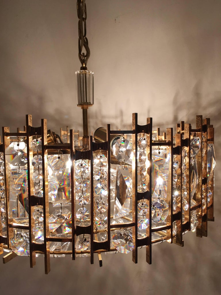 Palwa Gold-Plated Crystal Glass Chandelier, 1960 For Sale 1