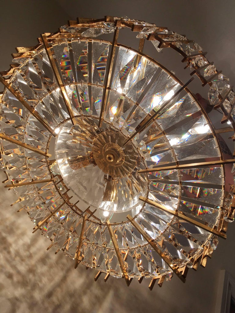 Palwa Gold-Plated Crystal Glass Chandelier, 1960 For Sale 2