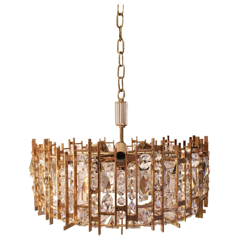 Palwa Gold-Plated Crystal Glass Chandelier, 1960 For Sale