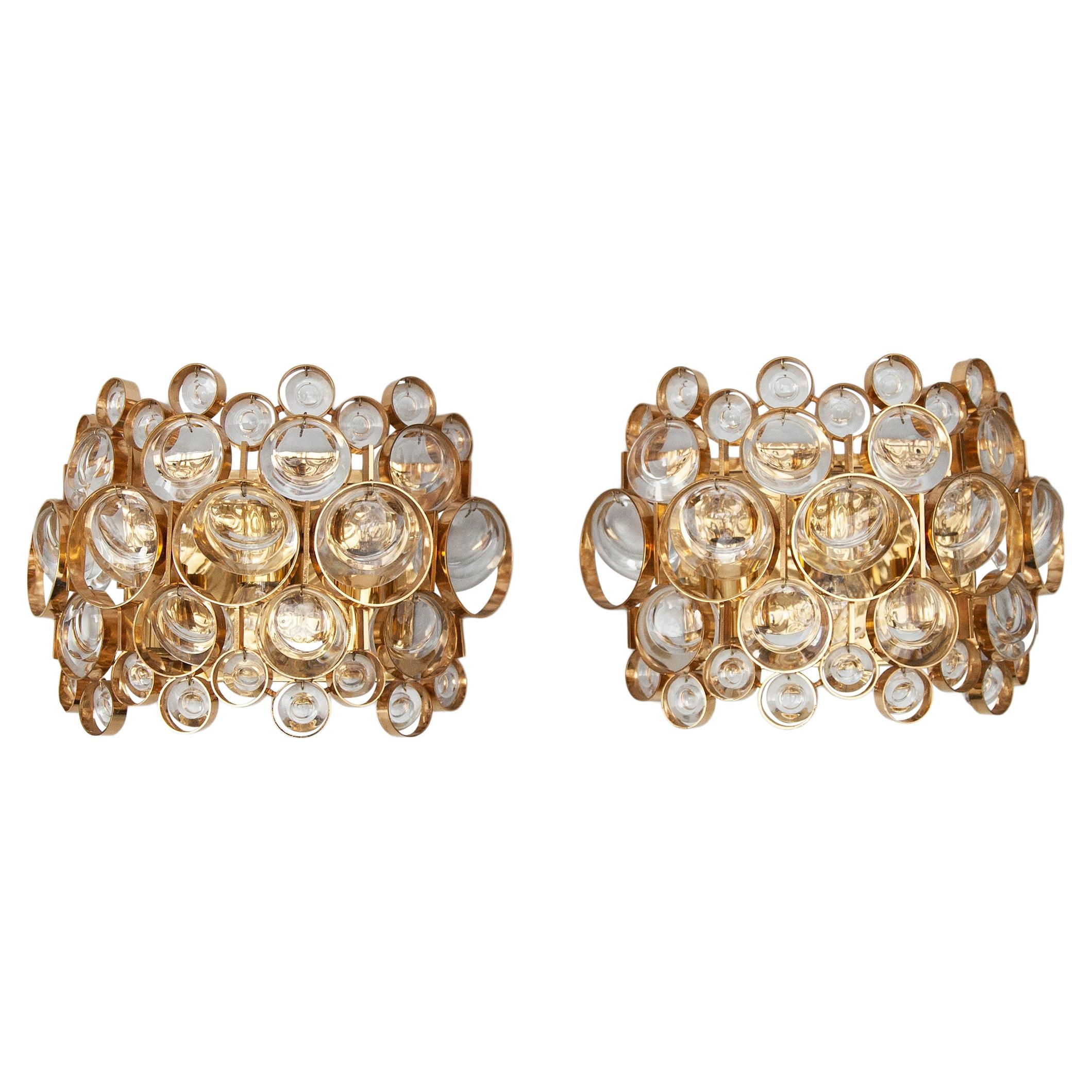 Palwa Gold Plated Jewel Crystal Glass Sconces, Germany, 1960s