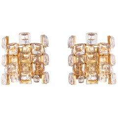 1960 Germany Palwa Glamorous Jewel Wall Sconce Crystal & Gilt-Brass, Set of 2