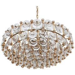 Palwa Large Crystal and Gilt Chandelier Mid-Century Modern,Germany