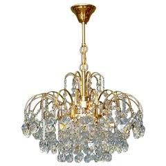 Palwa or Palme Gilt Brass Faceted Crystal Glass Sputnik Chandelier, 1960-1970s