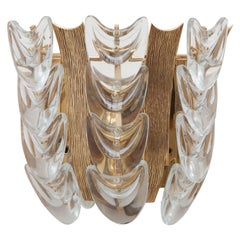 Palwa Sconce Brass, Clear Faceted Crystal, 1970s, Germany